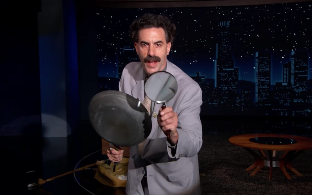 Sacha Baron Cohen appears as Borat on Jimmy Kimmel's show, October 19, 2020. (Screenshot)
