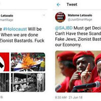 Screenshots of two anti-Semitic tweets that have since been removed (screen grab)