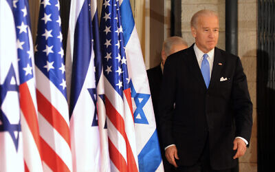 Then US Vice President Joe Biden on his way to speak to the press at the residence of Prime Minister Benjamin Netanyahu in Jerusalem, March 9, 2010. (AP Photo/Debbie Hill, Pool)