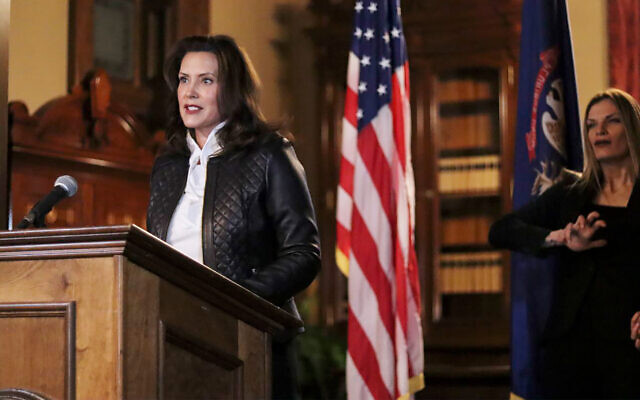 Michigan Gov. Gretchen Whitmer addresses the state during a speech in Lansing, Michigan, Oct. 8, 2020. (Michigan Office of the Governor via AP)