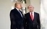US President Donald Trump, left, and Prime Minister Benjamin Netanyahu walk to a meeting in the Oval Office of the White House, January 27, 2020. (AP Photo/ Evan Vucci)