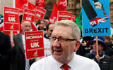 General Secretary of Unite the Union Len McCluskey at a protest in London, March 6, 2019. (AP Photo/Frank Augstein)