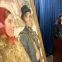 "Acting US Attorney for the Northern District of New York, Antoinette T. Bacon, speaks at a repatriation ceremony for the painting ""Winter,"" in Albany, New York, October 15, 2020. (AP Photo/Michael Hill)"