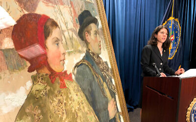 """Acting US Attorney for the Northern District of New York, Antoinette T. Bacon, speaks at a repatriation ceremony for the painting """"Winter,"""" in Albany, New York, October 15, 2020. (AP Photo/Michael Hill)"""