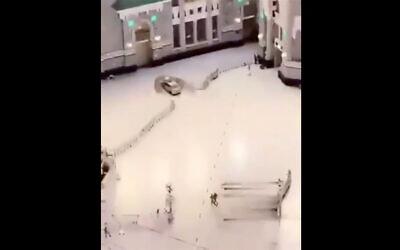 A driver slams his car into a door of Mecca's Grand Mosque, October 30, 2020. (Screenshot/Twitter)