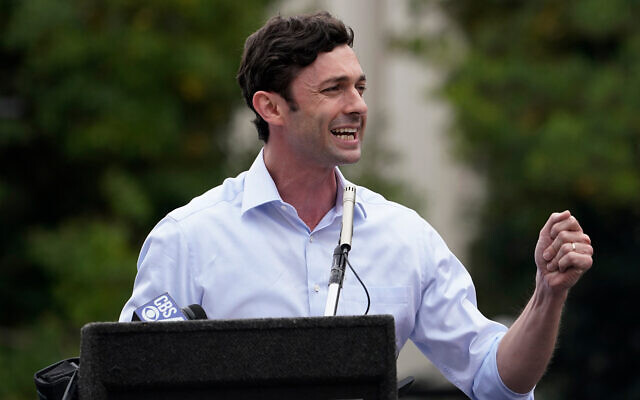 Democratic candidate for Senate Jon Ossoff is shown during a small rally in Athens, Georgia, October 26, 2020. (AP Photo/John Bazemore)