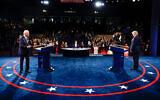 US President Donald Trump and Democratic presidential candidate Joe Biden participate in the final presidential debate in Nashville, Tennessee, Oct. 22, 2020. (Jim Bourg/Pool via AP)