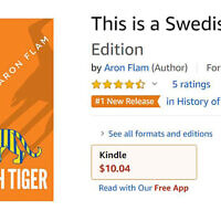 "The book cover of ""This is a Swedish Tiger"" by the Swedish-Jewish author Aron Flam as seen on Amazon. (Screenshot/Amazon via JTA)"