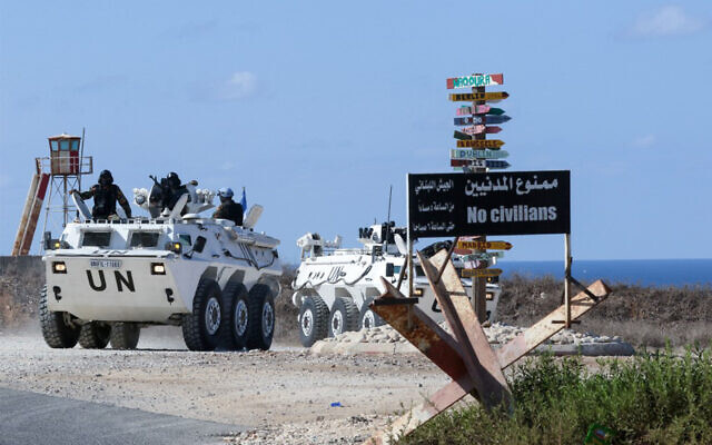 A United Nations peacekeeping force (UNIFIL) convoy patrols next to Naqoura, in Lebanon near its border with Israel, ahead of negotiations between the two countries in the area, October 13, 2020. (Mahmoud Zayyat/AFP)