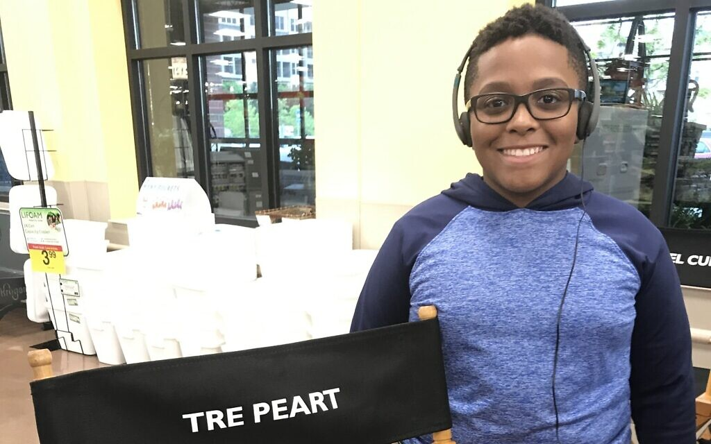 'The War With Grandpa' executive producer Tre Peart next to his chair. (Courtesy 101 Studios)