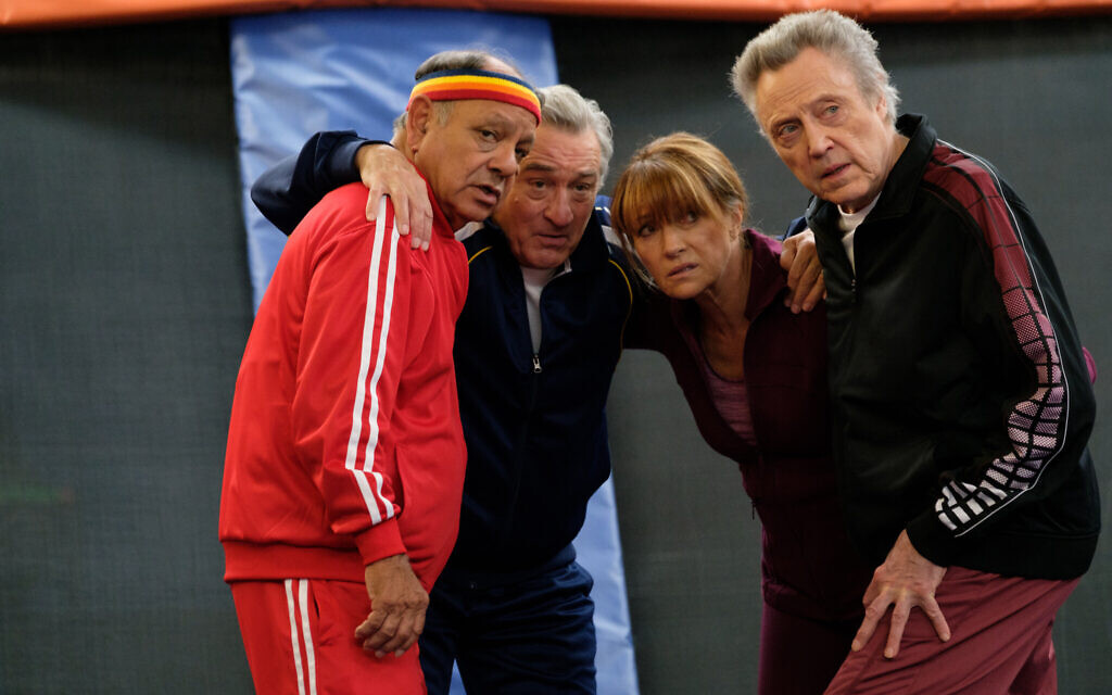 From left: Cheech Marin, Robert De Niro, Jane Seymour, and Christopher Walken pose for a photo on the set of 'The War With Grandpa.' (Courtesy 101 Studios)