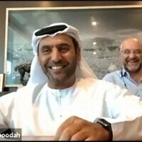Abdullah Saeed Al Naboodah, chairman of Al Naboodah Investments in Dubai, and Jon Medved, CEO of OurCrowd in Jerusalem, sign an MoU to increase business ties between startups and investors in the UAE and Israel (Photo: OurCrowd)