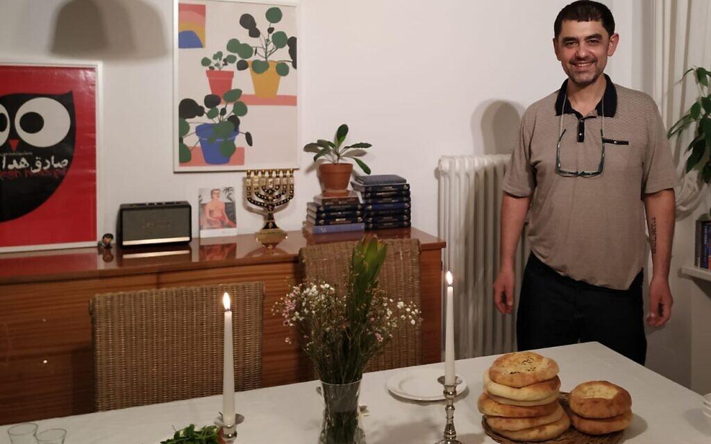 Chef Max Malkiel at home in Berlin's Wilmersdorf neighborhood, January 2020. (Yaakov Schwartz/ Times of Israel)