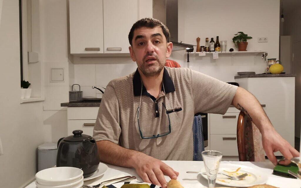 Chef Max Malkiel gets philosophical at his home in Berlin's Wilmersdorf neighborhood, January 2020. (Yaakov Schwartz/ Times of Israel)