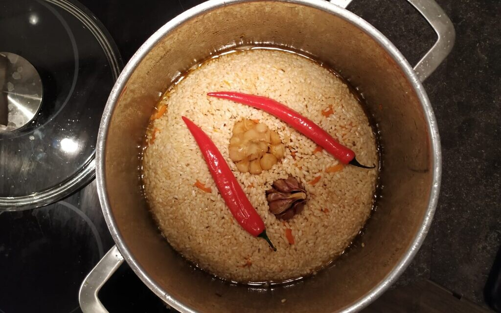 Plav, a Caucasian dish of rice, vegetables, and meat, by chef Max Malkiel, January 2020. (Yaakov Schwartz/ Times of Israel)