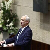 Defense Minister Benny Gantz addresses the Knesset on October 15, 2020. (Gideon Sharon/Knesset Spokesperson)