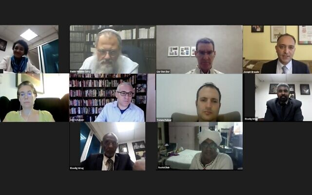 Screen shot of Zoom call attended by Sudanese pro-Israel activists and a group of Israelis, October 15, 2020. (Screenshot)