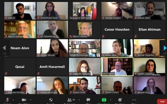 A Tech2Peace online event. The nonprofit uses technology to create dialogue and collaborations between Israelis and Palestinians (Courtesy)