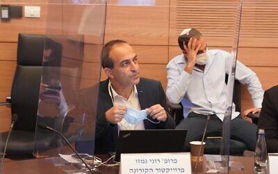 Coronavirus czar Ronni Gamzu at a meeting of the Knesset's Labor and Welfare Committee, in Jerusalem, October 19, 2020. (Shmulik Grossman/Knesset)