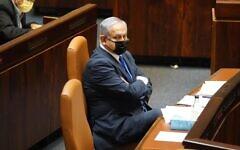 Prime Minister Benjamin Netanyahu in the Knesset plenum on October 19, 2020. (Shmulik Grossman/Knesset Spokesperson's Office)