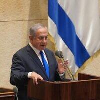 Prime Minister Benjamin Netanyahu addresses the Knesset plenum on October 19, 2020. (Shmulik Grossman/Knesset Spokesperson)