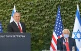 Prime Minister Benjamin Netanyahu, left, and US Ambassador to Israel David Friedman at an event at Ariel University, October 28, 2020 (Amos Ben Gershom/GPO)