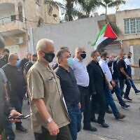 Arab Israelis march in Kafr Qasim to commemorate a 1956 massacre by Israel Border Police on Thursday, October 29, 2020 (Credit: Yousef Jabareen)