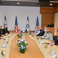 Defense Minister Benny Gantz, right, and senior Israeli defense officials meet with  US Secretary of Defense Mark Esper, left and his staff at military headquarters in Tel Aviv on October 29, 2020. (Ariel Hermoni/Defense Ministry)
