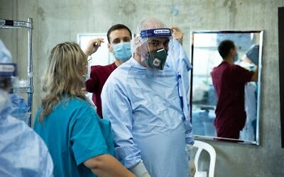 IDF medical staff prepare to open two coronavirus wards in Haifa's Rambam Medical Center in Haifa in an undated photograph. (Israel Defense Forces)