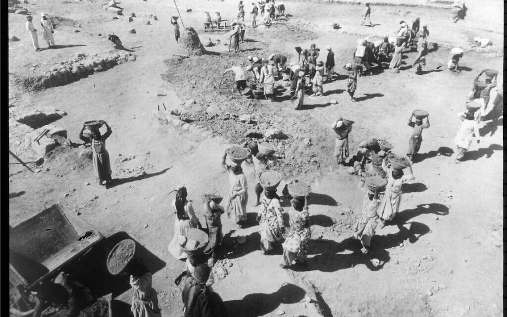 Workers in late 1926 clear surface squares at Megiddo. (courtesy Oriental Institute of the University of Chicago)