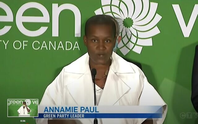 Green Party leader Annamie Paul (Screengrab: YouTube)