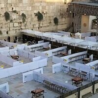 Preparations at the Western Wall in Jerusalem for the resumption of group prayers, October 15, 2020 (Western Wall Heritage Foundation)
