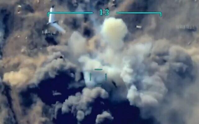 Azeri drone striking an Arminian artillery battery. (Screengrab: Walla)