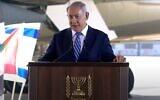 Prime Minister Benjamin Netanyahu speaking at Ben-Gurion Airport on October 20, 2020. (screen capture: YouTube/PMO)