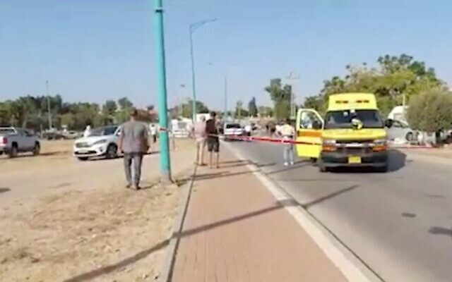 Screen capture from video of the scene where a boy, 5, died after being hit by a truck in a suspected hit-and-run in Ashkelon, October 26, 2020. (Walla news)