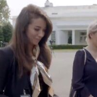 Actress Maria Bakalova (R) and OANN reporter Chanel Rion at the White House, September 20, 2020 (Screen grab from Borat 2 (Screen grab/Borat Twitter account)