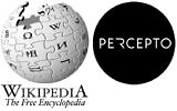 Wikipedia logo alongside the logo for Percepto (Composite image by Times of Israel)
