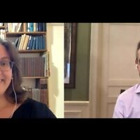 Times of Israel Deputy Editor Amanda Borschel-Dan speaks with Park Avenue Synagogue Rabbi Elliot Cosgrove on the Behind the Headlines video series, October 28, 2020. (Times of Israel)