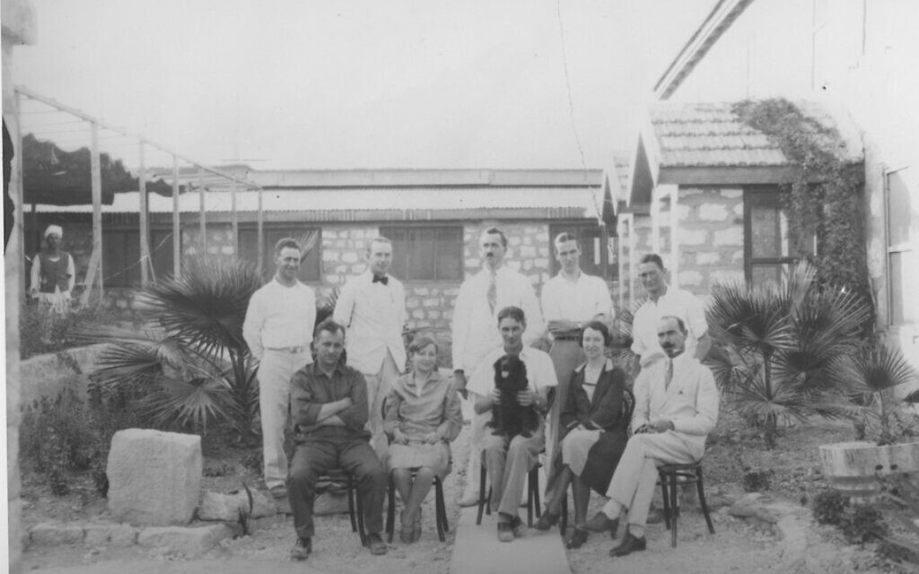 Megiddo excavation staff and spouses, September 7, 1928. Front row, sitting, from l-r: William Staples, Yemima Guy (the daughter of Eliezar Ben-Yehuda), P.L.O. Guy, Margaret Staples, Ivan Terentieff. Back row: Harry Parker, Edward DeLoach, Olof Lind, Robert Lamon, Geoffrey Shipton. (courtesy Oriental Institute of the University of Chicago)