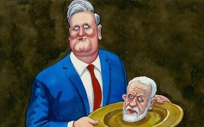 A cartoon published in the Guardian, portraying UK Labour Party leader Kier Starmer holding up former party leader Jeremy Corbyn's severed head on a golden plate.