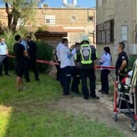 The scene where a woman was found dead at her home in the Kiryat Haim neighborhood in Haifa. Her partner was arrested on suspicion of murder, October 19, 2020 (Magen David Adom)