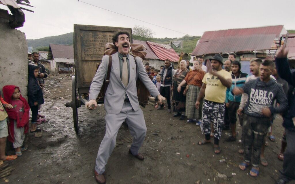 """This image released shows Sacha Baron Cohen in a scene from """"Borat Subsequent Moviefilm.""""  (Amazon Studios)"""