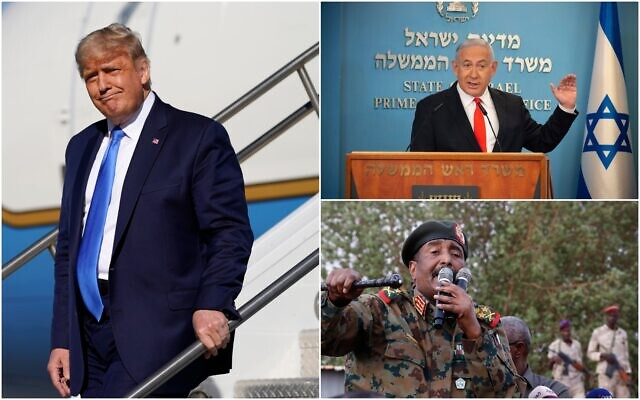 US President Donald Trump, left, steps off Air Force One at Reno-Tahoe International Airport on October 18, 2020, in Reno, Nevada. (AP/Alex Brandon); Sudanese Gen. Abdel Fattah al-Burhan, bottom right, head of the military council, speaks during a military-backed rally, in Omdurman district, west of Khartoum, Sudan on June 29, 2019 (AP/Hussein Malla); Prime Minister Benjamin Netanyahu, top right, speaks during a briefing on coronavirus development at his office in Jerusalem on September 13, 2020. (Alex Kolomiensky/ Yedioth Ahronoth via AP, Pool)