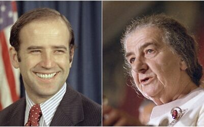 Composite photo: Left - the newly-elected Democratic senator from Delaware, Joe Biden, is shown on Capitol Hill in Washington on December 13, 1972; Right - prime minister Golda Meir is shown speaking at the United Nations, October 22, 1970 (AP photos)
