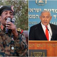 Sudanese Gen. Abdel Fattah al-Burhan, left, head of the military council, speaks during a military-backed rally, in Omdurman district, west of Khartoum, Sudan on June 29, 2019. (AP/Hussein Malla) Prime Minister Benjamin Netanyahu speaks during a briefing on coronavirus development at his office in Jerusalem on September 13 2020.  (Alex Kolomiensky/Yedioth Ahronoth via AP, Pool)