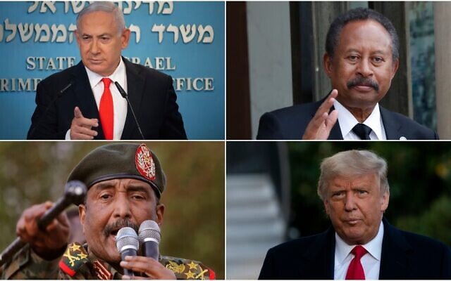 Clockwise, from top left: Israeli Prime Minister Benjamin Netanyahu at his office in Jerusalem, Sunday, Sept. 13 2020 (Alex Kolomiensky/Yedioth Ahronoth via AP, Pool); Sudanese Prime Minister Abdalla Hamdok at the Elysee palace in Paris, Monday, Sept. 30, 2019. (AP Photo/Thibault Camus); US President Donald Trump at the White House, Wednesday, Oct. 21, 2020 (AP Photo/Alex Brandon); Sudanese Gen. Abdel-Fattah Burhan, head of the military council, west of Khartoum, June 29, 2019 (AP Photo/Hussein Malla, File)