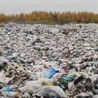 Plastic waste on an unidentified beach. (YouTube screenshot/Zavit)