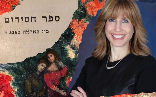 Dr. Susan Weissman and a copy of Sefer Hasidim. Background: Marc Chagall's 'The Lovers.' (courtesy/ Israel Museum)