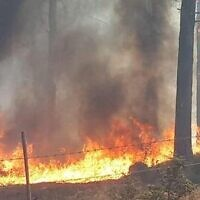 A fire near Nof Hagalil in northern Israel, October 9, 2020 (Nof Hagalil Council)