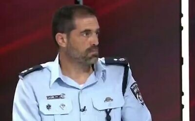 Deputy Police Chief and head of the investigations division Ziv Sagiv in an interview with Channel 13 News on October 10, 2020. (Screen capture: Twitter/Channel 13)